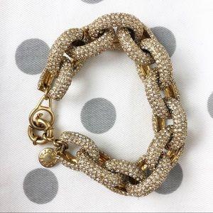 J Crew rhinestone and gold chain link bracelet